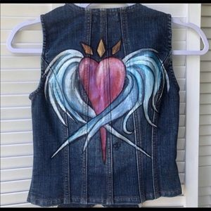 Hand Painted Denim Vest with Winged Heart Sz S